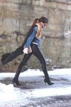 gray vintage vest - black leather H&M pants