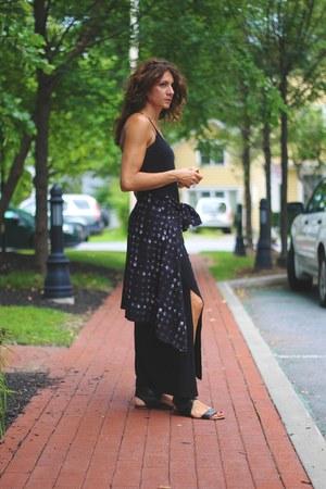 kimono asos cardigan - black maxi dress