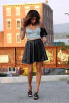 bralet Topshop bra - faux leather skirt