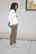 white bonded asos sweatshirt - vintage bag - leopard banana republic pants
