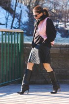 black Manolo Blahnik boots - black Uniqlo skirt - bubble gum moto vintage vest
