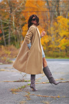 vintage coat - brian atwood boots - H&M sweatshirt