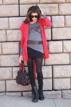 charcoal gray thrifted shirt - red Anthropologie jacket