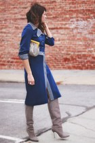 blue 2 piece vintage suit - heather gray brian atwood boots