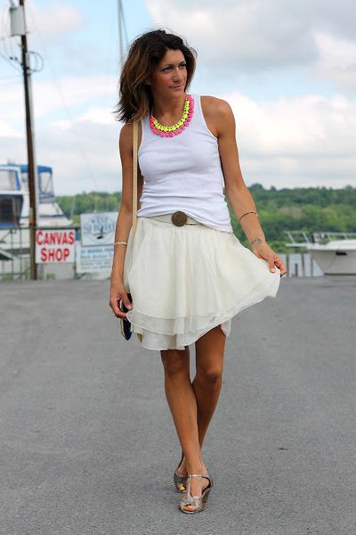 baublebar necklace - Hanes shirt - thrifted Ralph Lauren skirt