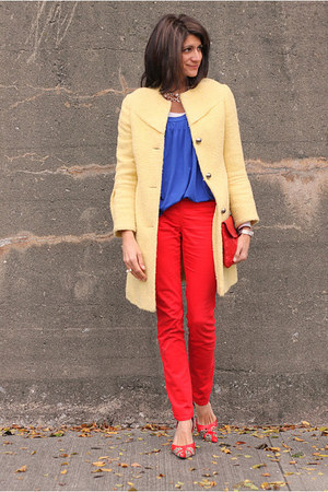 blue shirt - yellow Bebe coat - red pants