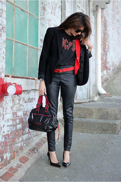 black blazer - black faux leather pants - red cardigan