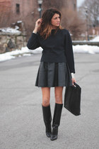 black Manolo Blahnik boots - navy asos shirt - black acne bag - black skirt
