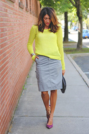 yellow neon sweater - heather gray DKNY skirt - purple BCBG heels