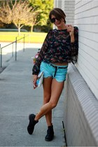 boots - floral sheer shirt - shorts