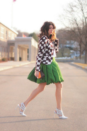 green Jcrew skirt - dark brown Betsey Johnson blazer - white heels