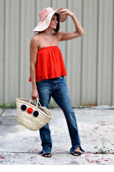 carrot orange strapless f21 top - indigo and lavender bag