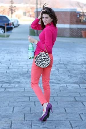 salmon pants - hot pink sweater - deep purple heels