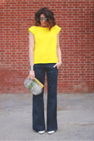 yellow vintage sweater - jess rizzuti bag - navy DKNY pants - white heels