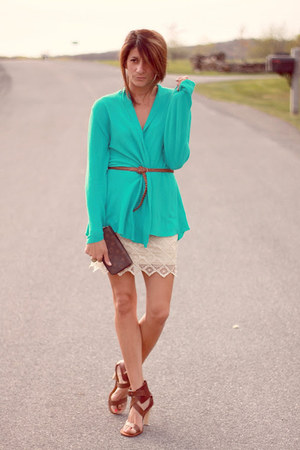 aquamarine cardigan - ivory lace BB Dakota skirt - light brown Chloe heels