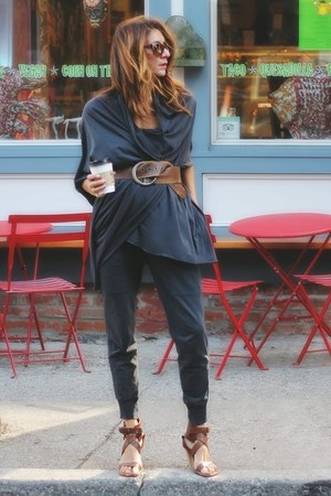 charcoal gray scarf - brown Chloe shoes - charcoal gray Zara pants
