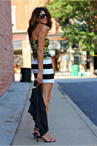 camo top - striped skirt
