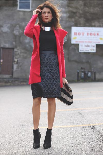 black Kurt Geiger boots - red Anthropologie jacket - black Uniqlo skirt