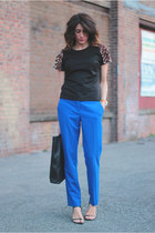 blue Vince Camuto pants - acne bag - black f21 top
