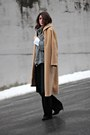 Camel-vintage-coat-gray-mango-sweater-black-ronen-chen-pants