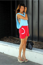 sky blue French Connection shirt - red H&M skirt