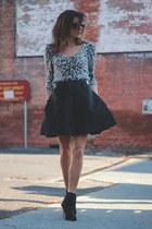black Anthropologie skirt - animal print sweater