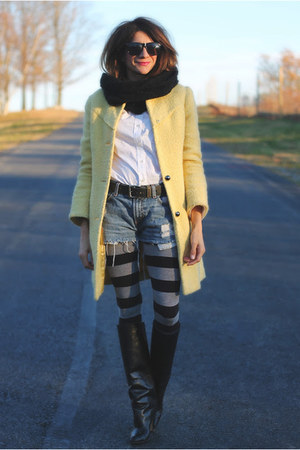 yellow Bebe coat - Manolo Blahnik boots - H&M leggings