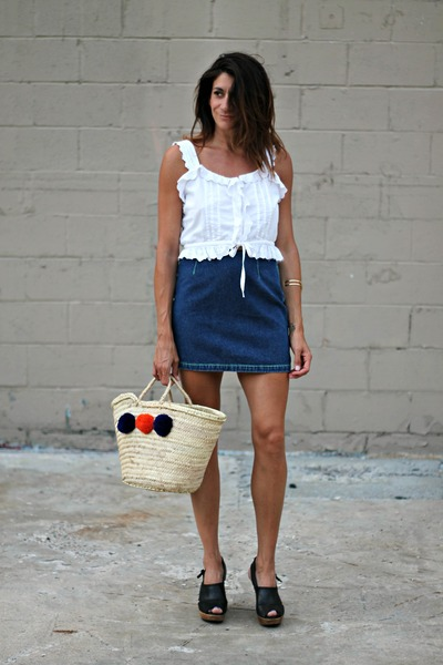 white vintage Carla Freeman top - blue vintage Anna Sui skirt