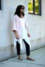 White-thrifted-top-light-pink-kimono-asos-top-charcoal-gray-vince-pants