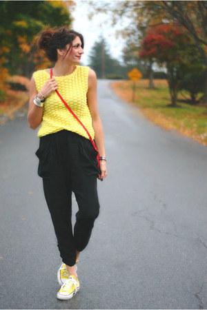 yellow vintage shirt - red Tahari bag - black pants - yellow Converse sneakers