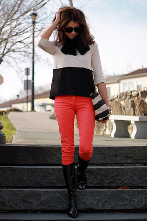 coral H&M pants - black franco sarto boots - cream H&M shirt - striped H&M bag