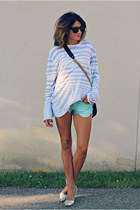mens Armani Exchange shirt - aquamarine Mossimo shorts - silver tano heels