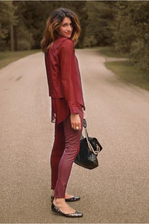 maroon shirt - maroon pants - Jimmy Choo flats
