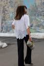 White-vintage-shirt-navy-zara-pants