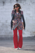 McQ dress - red Zara pants - navy vest - white heels