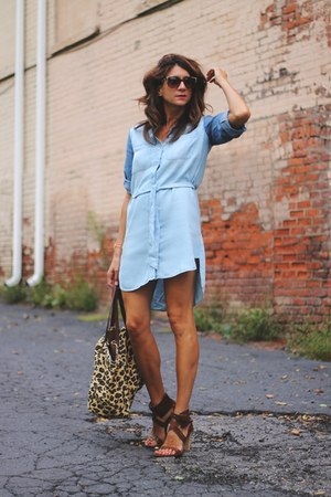 sky blue chambray dress