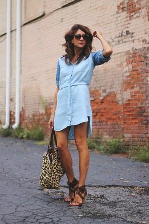sky blue chambray dress