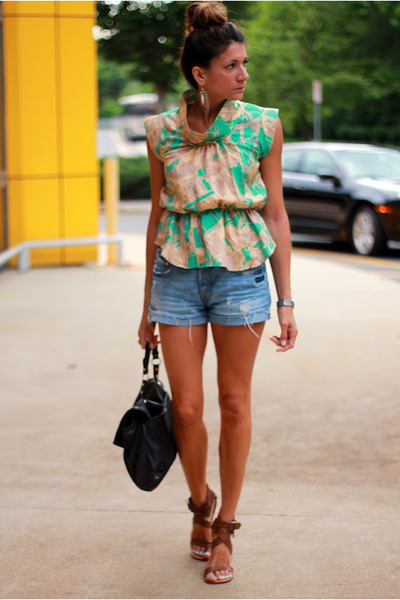 madison marcus shirt - Chloe shoes - denim shorts