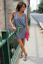 charcoal gray dress - hot pink bag - chartreuse vintage belt - charcoal gray Ken