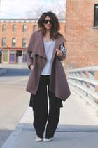 light brown Ronen Chen coat - black Ronen Chen pants - white heels