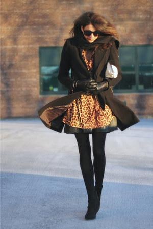 black Kurt Geiger boots - black Improvd coat - leopard print vintage shirt