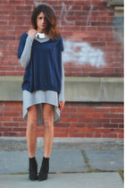 black Kurt Geiger boots - heather gray Zara dress - navy vince sweater