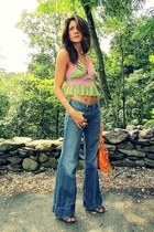 chartreuse Betsey Johnson top - Diesel jeans