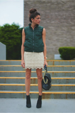 dark green vintage vest - ivory BB Dakota skirt - Kurt Geiger heels