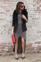 gray dress - black blazer - red bag - Jeffery Campbell heels