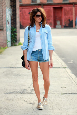light blue Sheinside shirt - Zara shorts