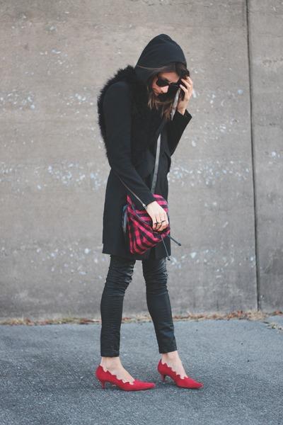 ruby red vintage shoes - Improvd coat - plaid vintage bag - fur vintage vest