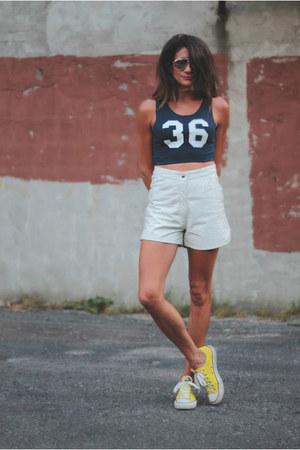 crop Forever 21 top - leather vintage shorts