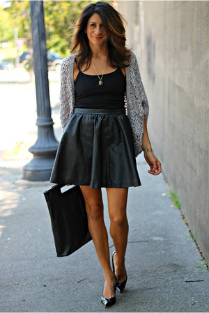 faux leather skirt - acne bag - cardigan