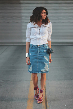denim asos skirt - AX jacket - Kenneth Cole heels